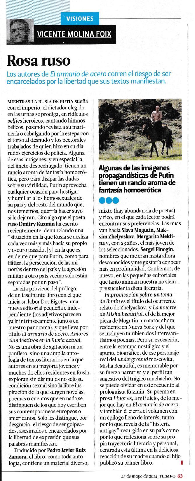 Columna de Vicente Molina Foix en la revista Tiempo